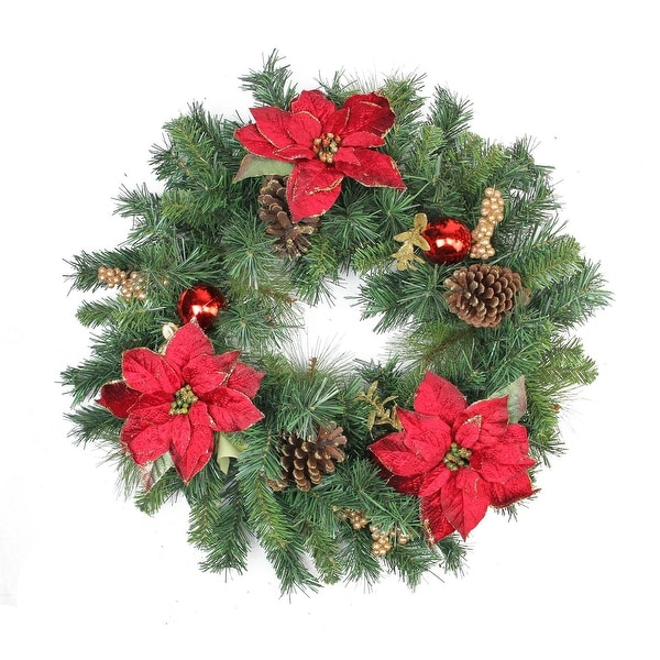 "24"" Pine Poinsettia Berry and Pine Cone Artificial Christmas Wreath - Unlit"