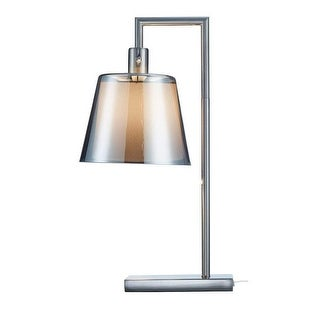 "Adesso 1513 Prescott 1 Light 25"" Tall Desk Lamp with Smoked Mercury Glass Shade - Brushed Steel"