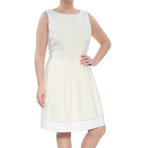JESSICA HOWARD Womens Ivory Contrast Eyelet Sleeveless Jewel Neck Above The Knee Fit + Flare Dress Size: 14