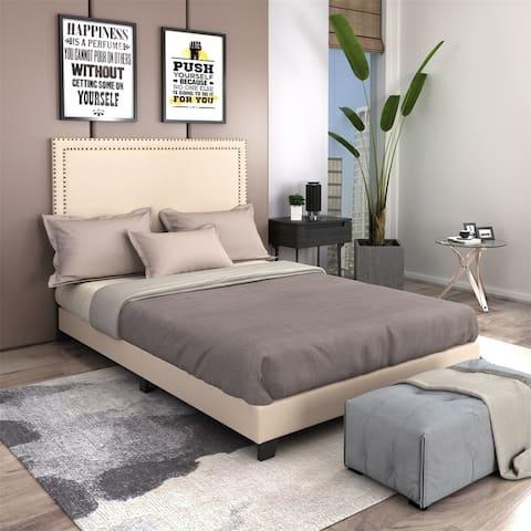 Merax Milan Upholstered Platform Bed with Wooden Slats and Nailhead