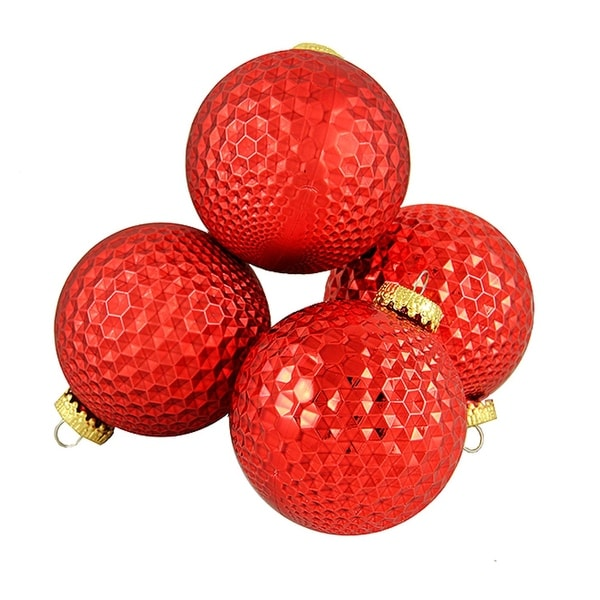 """4ct Red Prism Textured Shatterproof Christmas Ball Ornaments 2.75"""" (70mm)"""