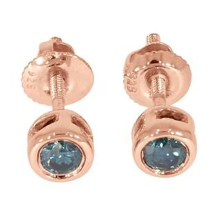 Prism Jewel 0.18 TCW Blue Color Diamond Bezel Set Screw Back Stud Earring