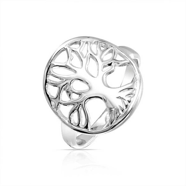 925 Sterling Silver Polished Finish Tree Of Life Ring Size 3-10