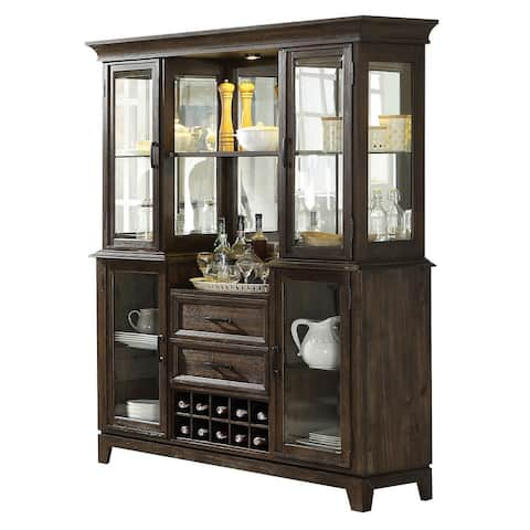 Wood and Glass Server and Buffet with Display and Storage Space, Brown
