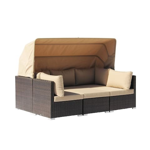 Courtyard Casual Aurora Outdoor Sectional to Daybed Combo with Canopy