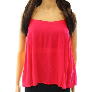Elodie NEW Pink Women's Size Small S Ruffle Trim Crinkle Tank Top