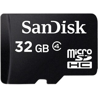 SanDisk 32GB microSDHC, Class 4 Memory Card with SD Adapter - Black
