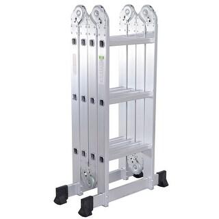 Gymax 12.5Ft Multi Purpose Folding EN131 Aluminum Scaffold Ladder Step