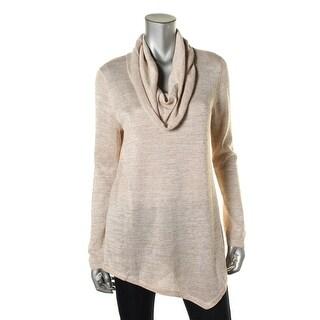 Cupio Womens Metallic Cowl Pullover Sweater