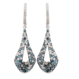 Beautiful 2.00 Carat ICE Blue and White Diamond Fancy Shaped Clip-on Drop Earring, 14k White Gold