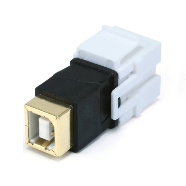 Monoprice Keystone Jack - USB 2.0 B Female to B Female Coupler Adapter, Flush Type (White)