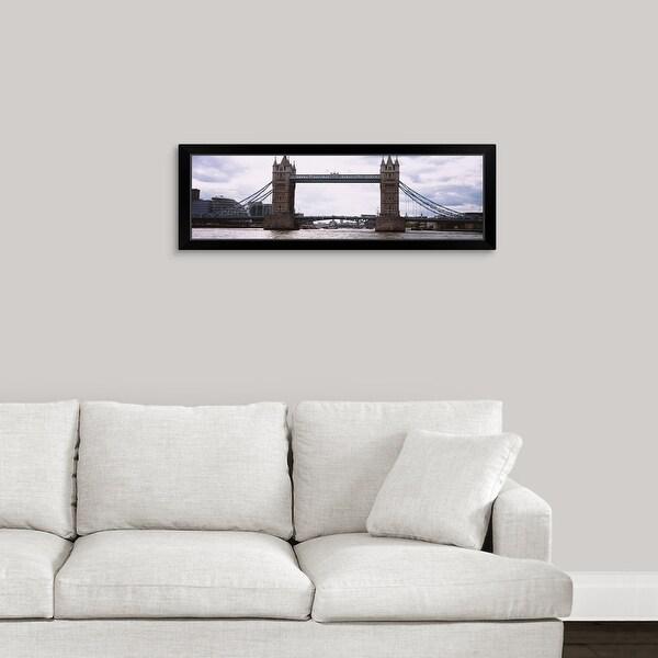 """Drawbridge across a river, Tower Bridge, Thames River, London, England"" Black Framed Print"