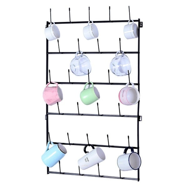Wall Mounted Home Storage Mug Hooks with 6-Tier Display Organizer. Opens flyout.