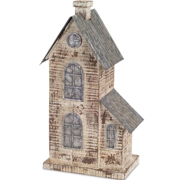 Pack of 2 Decorative Poly-resin and Metal House Figure