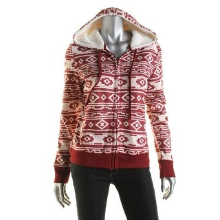 Almost Famous Womens Faux-Sherpa Printed Zip-Front Hoodie