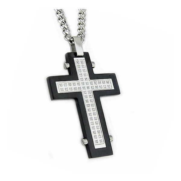 Stainless Steel Men's Cross Pendant w/ CZ - 24 inches
