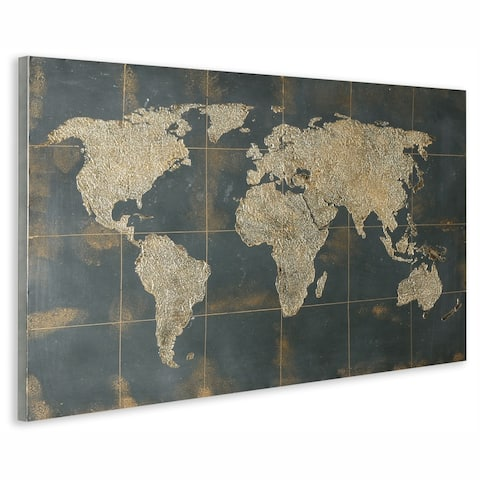 Golden Map Hand Painted on Metal