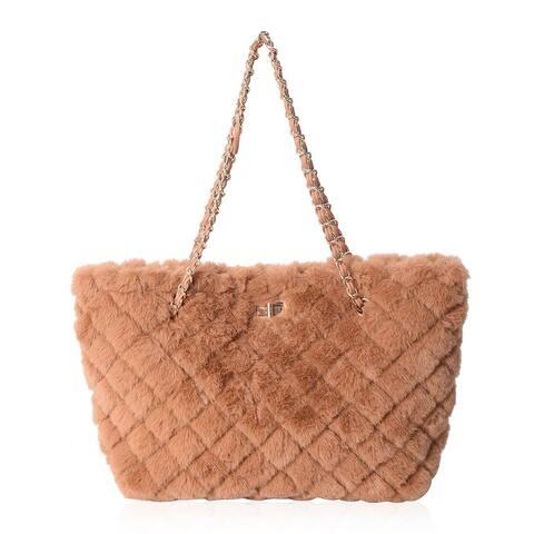 "Shop LC Quilted Checker Acrylic Faux Tote Bag Handbag Shoulder Bag - 14.96x9.84x5.5"""