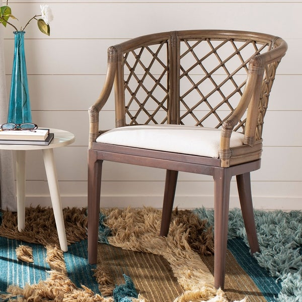 "Safavieh Country Classic Dining Carlotta Griege Arm Chair - 22.3"" x 23"" x 31.3"". Opens flyout."