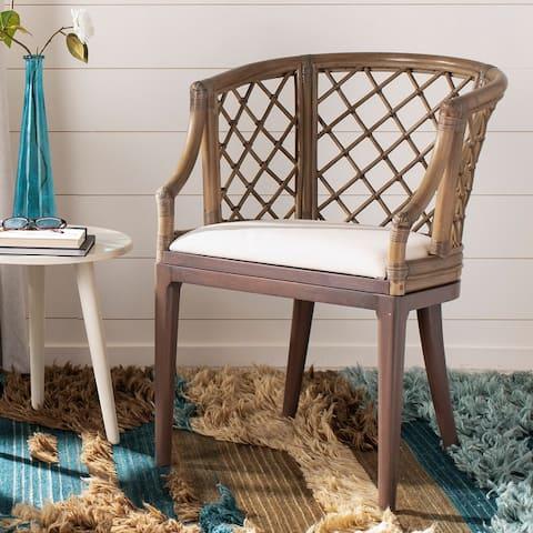 """SAFAVIEH Carlotta Rattan Lattice Arm Chair - 22.3"""" W x 23"""" L x 31.3"""" H"""