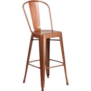 Carbon Loft Tabouret 30 Inch Wood Seat Brushed Copper