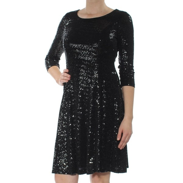 Shop Calvin Klein Womens Silver Sequined 3 4 Sleeve Scoop