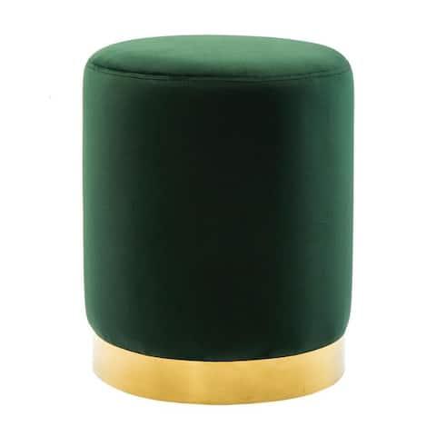 Pri Forest Green Velvet Ottoman