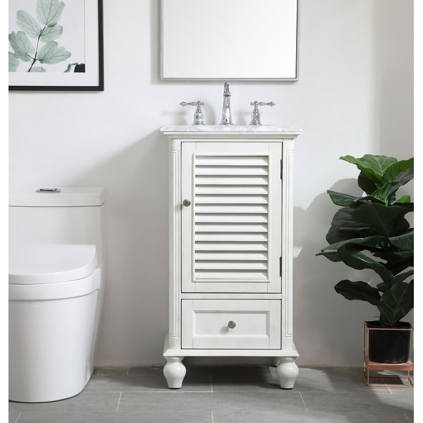 Rockland Coastal Bathroom Vanity Cabinet Set with Marble Top. Opens flyout.