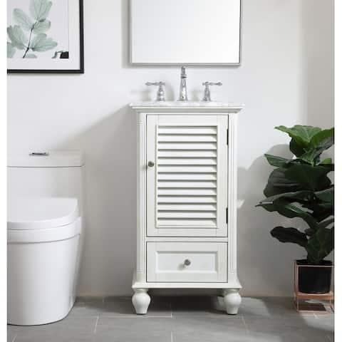 Rockland Coastal Bathroom Vanity Cabinet Set with Marble Top