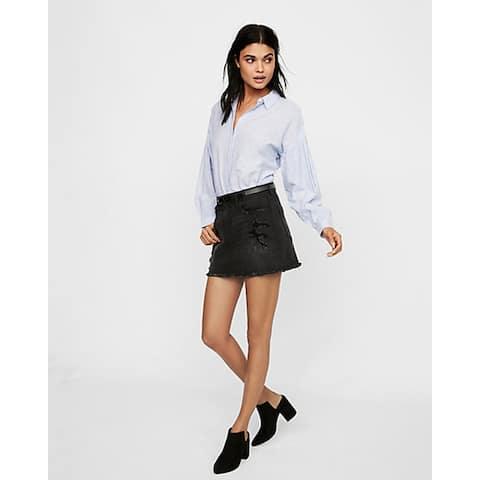 Express Destroyed Denim Mini Skirt, Pitch Black, 10