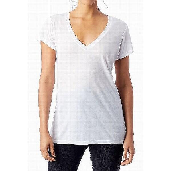 Alternative White Womens Size XS Slinky Jersey V-Neck T-Shirt