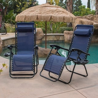 BELLEZE Navy Blue Lounge Patio Zero Gravity Chairs Set of 2 Utility Tray w cup holder Adjustable Recliner Yard