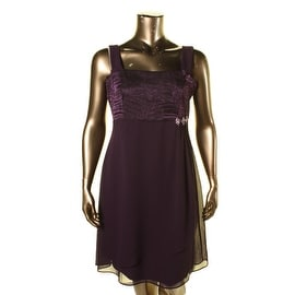 R&M Richards Womens Jeweled Textured Party Dress - 14