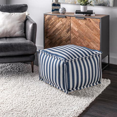 nuLOOM Porto Printed Striped Indoor/Outdoor Ottoman Pouf