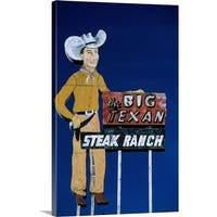 Premium Thick-Wrap Canvas entitled Restaurant sign for Big Texan Steak Ranch, Route 66, Texas - Multi-color