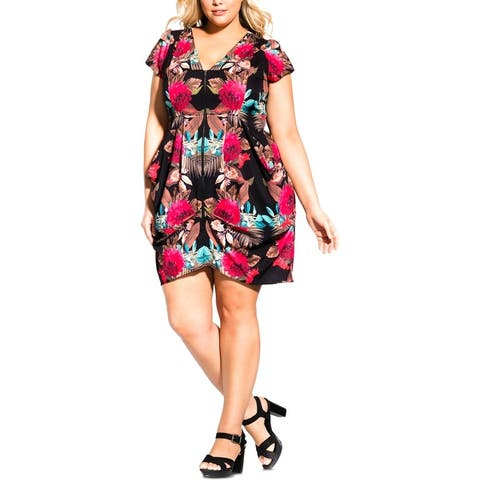City Chic Womens Plus Tunic Dress Woven Floral Print - Mirrored Palm