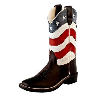 Old West Cowboy Boots Boys Girls Kid Flag Brown Red White Blue BSC1824