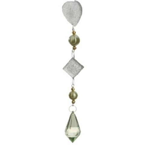 """9"""" Winter Solace Dazzling Green/Gold Beaded Teardrop Pendant Christmas Ornament"""