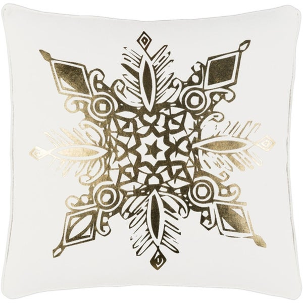 """18"""" Snow White and Rich Gold Decorative Geometric Snowflake Holiday Throw Pillow Cover"""
