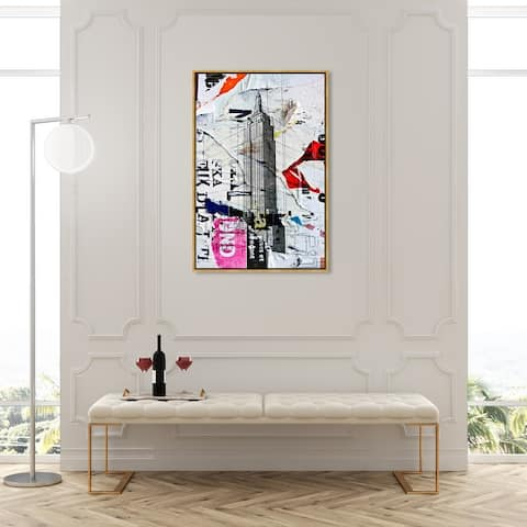 Oliver Gal 'Empire 2' Cities and Skylines Wall Art Framed Canvas Print United States Cities - Gray, White