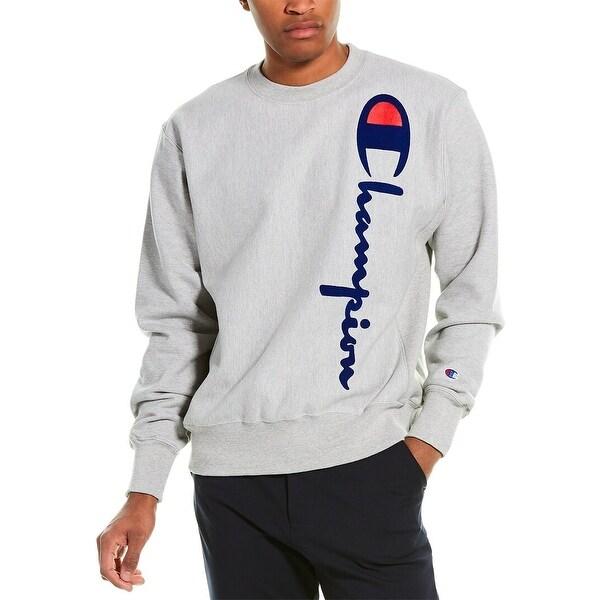 Champion Oversized Flocked Script Reverse Weave Sweatshirt. Opens flyout.