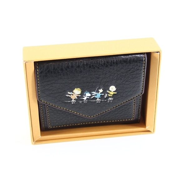 Coach Black Boxed Small Snoopy Trifold Leather Wallet Accessory