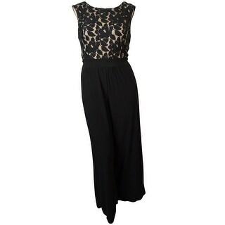 MSK Women's Lace Jersey Wide Leg Jumpsuit - Black/nude