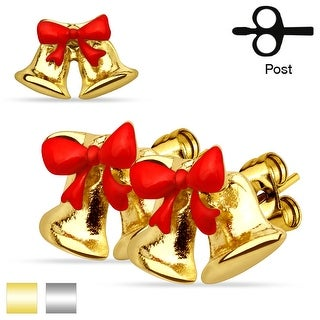 Pair of Christmas Ribbon Jingle Bell 316L Stainless Steel Stud Earrings