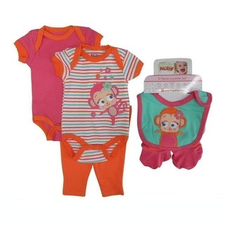 Nuby Baby Girls Coral Girl Bodysuits Pant Bootie Bib 5 Pc Layette Set