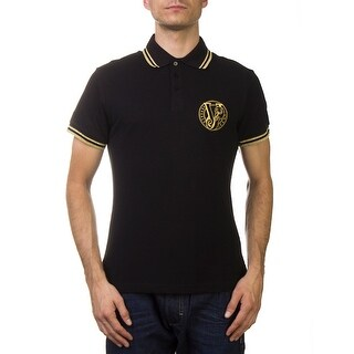 Versace Jeans Couture Pique Cotton Ribbed Polo Shirt Black Gold