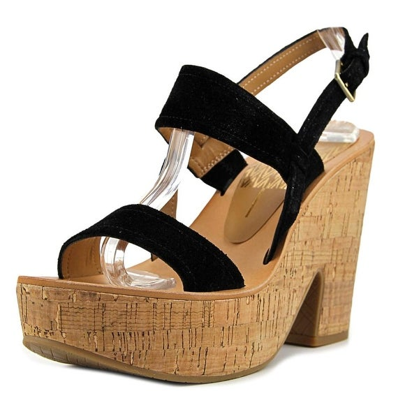 Dolce Vita Riley Women Open Toe Suede Black Platform Sandal
