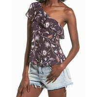 ASTR Purple Womens Size Small S Floral Ruffle One-Shoulder Blouse