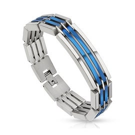 Dual Toned Crescent Center Link Blue IP Segmented Stainless Steel Bracelet (14 mm) - 8.5 in