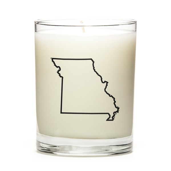 Custom Candles with the Map Outline Missouri, Pine Balsam